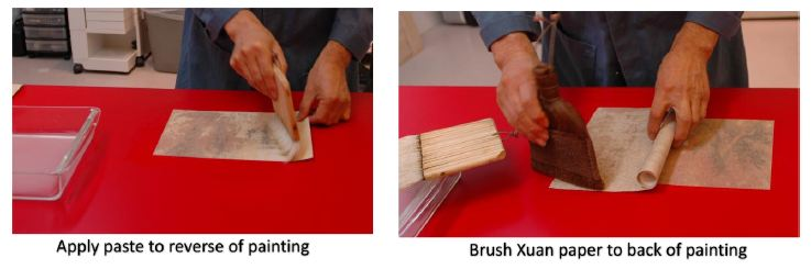 First method - apply paste direct to reverse of a painting