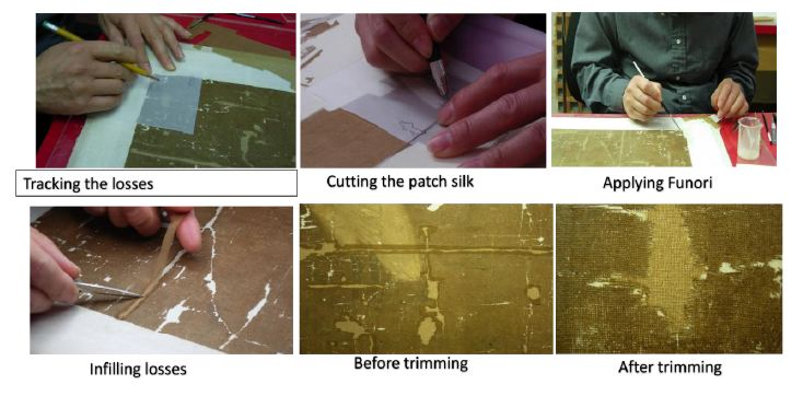 First method - from back of a painting, the infill silk is not lined with paper.